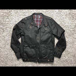 Indigo Star Long Sleeve Faux Leather Biker Jacket